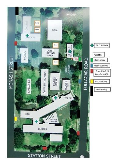 A map of our school buildings, access gates and grounds.